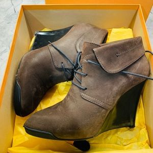 Tods Suede Wedge Ankle Boots